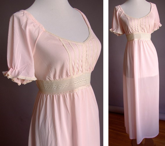 Lovely 1950's 60's Vintage Baby Pink Gown with Cream Lace and Puff Sleeves