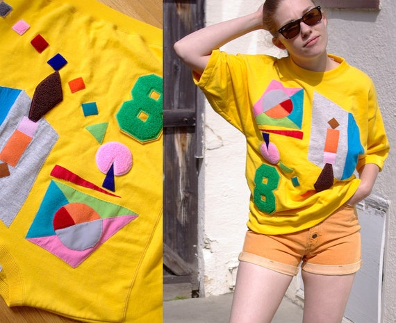 Wild and Wacky Vintage 1980's 90's Yellow Sweatshirt with Colorful Abstract Shapes