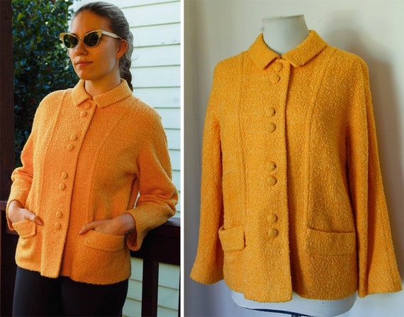 Orange Sorbet 1950's 60's Vintage Jacket with Satin Lining size Medium
