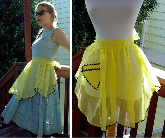 Walking On SUNSHINE 1950's Vintage Sheer Yellow Apron with Black Rick Rack