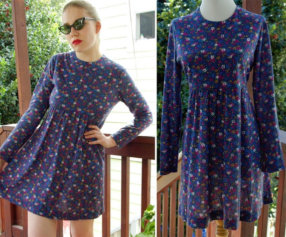 FLORAL 1980's 90's Grunge Vintage Blue Floral Babydoll Dress with Long Sleeves size Small Med
