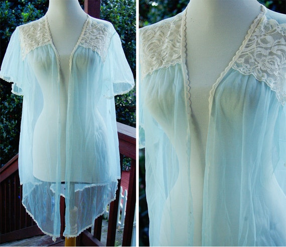 INHIBITIONS 1970's Vintage Open Front Sheer Baby Blue Shirt Robe with White Lace size Large