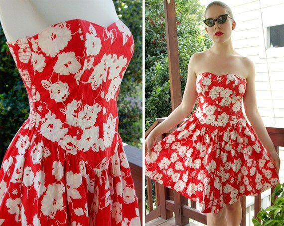 SWEETHEART 1980's does 50's Vintage Red Strapless Summer Dress with Sweetheart Neckline by EBER San Francisco