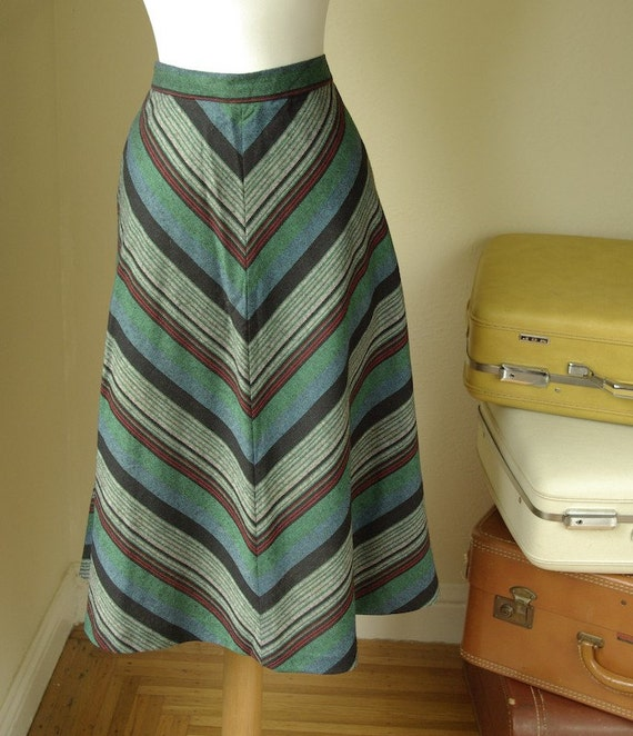 CHEVRON Stripes 1970's Vintage Teal Gray Woven Skirt size Small by The Gathering
