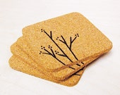 Branch and Blossom Cork Coaster Set