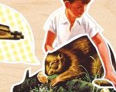 Cute Original Collage - boy and beaver
