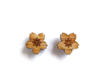 Cherry Blossom Earrings. Flower Earrings. Blossom Earrings. Wood Earrings. Stud Earrings. Laser Cut Earrings. Gifts For Mom. Gifts For Her.