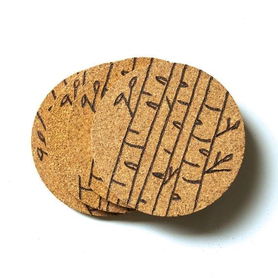 Winter Birch Cork Coaster Set