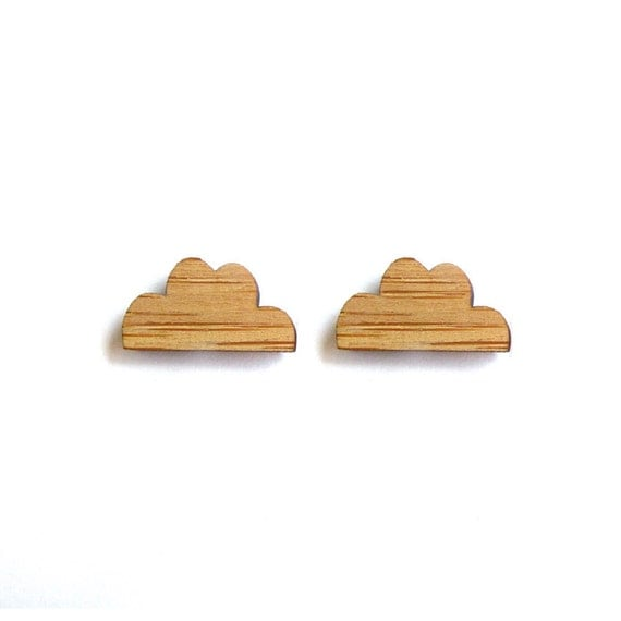 Cloud Earrings. Raincloud Earrings. Wood Earrings. Stud Earrings. Laser Cut Earrings. Gifts For Mom. Gifts For Her. Gifts Under 20. Cloudy