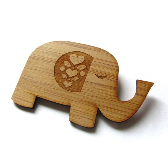 Happy Elephant Pin. Elephant Pin. Elephant Brooch. Elephant Jewelry. Wood Pin. Bamboo Pin. Laser Cut Pin. Gifts under 20. Gifts for her.