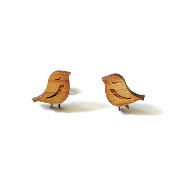 Little Birds. Bird Earrings. Wood Earrings. Stud Earrings. Laser Cut Earrings. Bamboo Earrings. Gifts For Her. Gift For Women.  Cute Earring