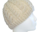 RESERVED - Ivory Double Cabled Hat - RESERVED