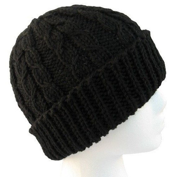 The Guy Hat - Dueling Cables Black Wool Knit Hat