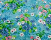 Vintage Sheet Fat Quarter - Teal Tropical Floral