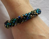 Ladies hand crafted beaded Kumihumo bracelet in green, blue and bronze seed beads, Japanese braided seed bead bracelet, gift idea for her