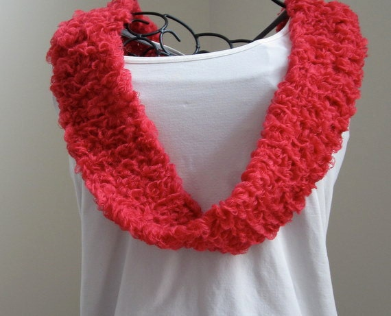 Hand knit women's red infinity scarf, mobius scarf, red infinity cowl, single or double loop cowl, spring summer cowl scarf