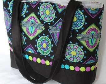 Pretty Dragonfly Mosaic purse tote Bags by April
