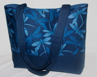 Striking Blue Tonal Dragonfly purse tote Bags by April