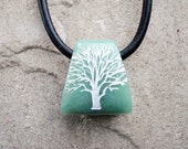 Tree of Life - Green Aventurine - Engraved Stone Pendant
