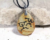 Hawaiian Paddle Dancers Petroglyph - Engraved Wood Jasper Stone Pendant