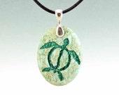 Honu Sea Turtle - Engraved Stone Pendant - Green Aqua terra Jasper