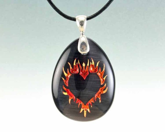Flaming Heart - Etched Glass Pendant - Black Cat Eye