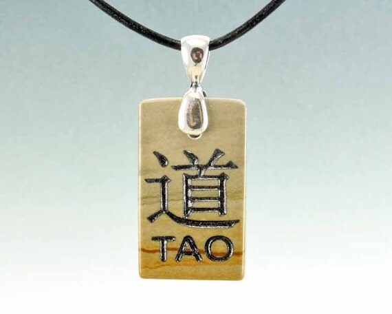 Tao - The Way of Nature - Small Engraved Stone Pendant