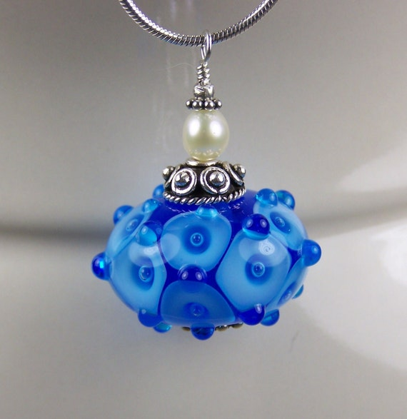 Blue Bubble Lampwork Pendant