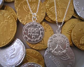sterling silver chanukah gelt necklace