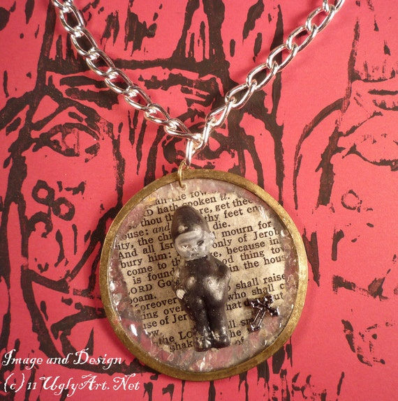 Large Undead Boy Bible Page Pendant with Cross
