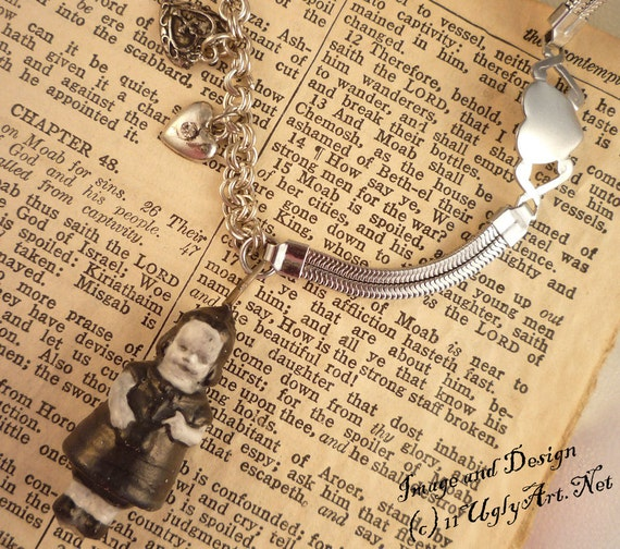 Hearts and Dead Girl Charm Necklace by Ugly Shyla