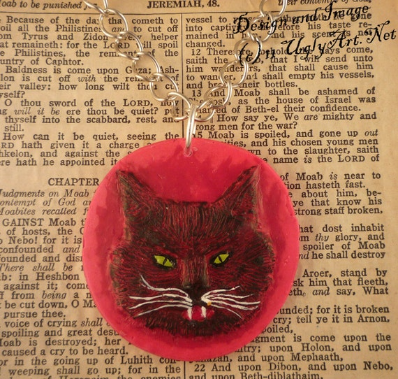 Hot Pink Krampus Lamb Black Cat Necklace.