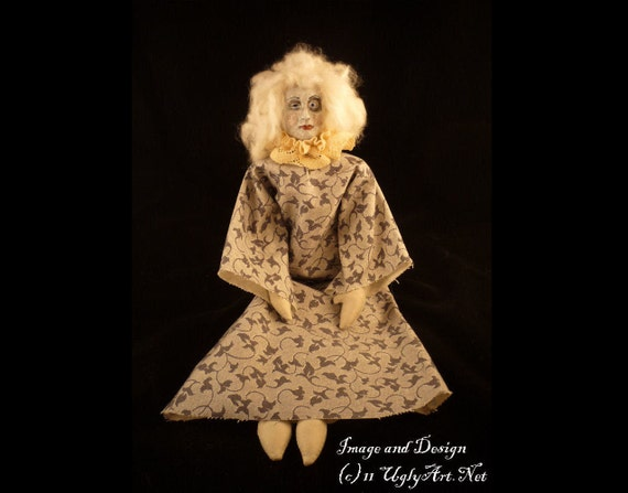 Gray Handmade Decayed Deco Vamp Boudoir Doll by Ugly Shyla