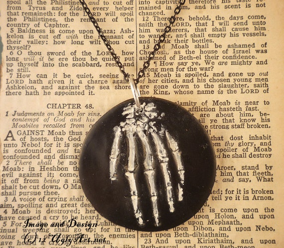 Hand OF Glory Skeleton Hand Necklace by Ugly Shyla