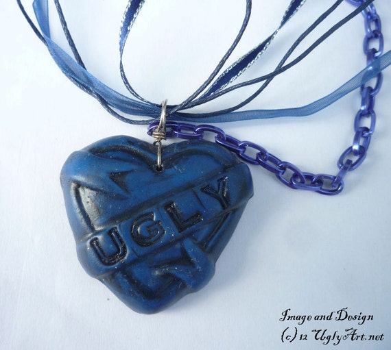 Ugly Heart And Blue Evil Eye Ribbon Necklace by Ugly Shyla OOAK