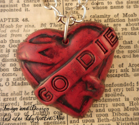 Go DIE Tattoo Heart Banner Necklace by Ugly Shyla