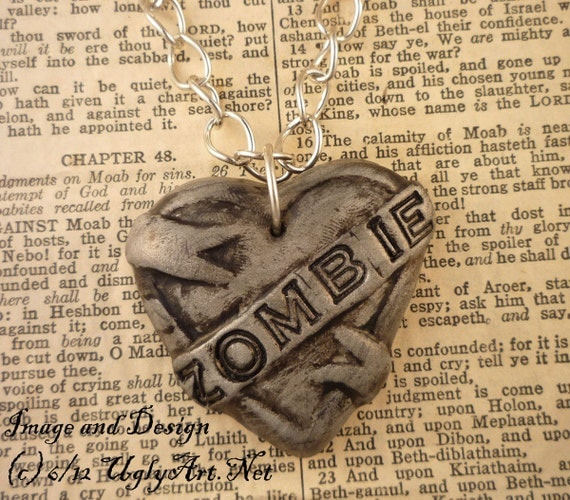 Zombie Tattoo Heart Banner Necklace by Ugly Shyla.