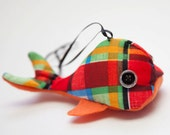Eco Plaid Whale Ornament- made from recycled vintage fabric