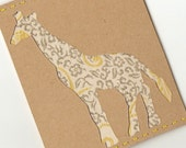 Yellow and Gray Flora Giraffe Card OOAK