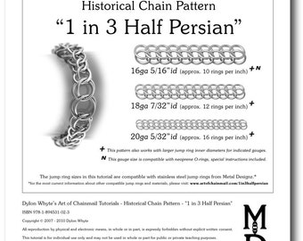 Chain Tutorial - 1 in 3 Half-Persian Pattern - PDF