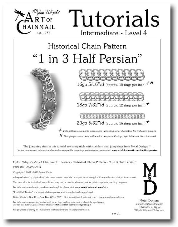 Chain Tutorial - 1 in 3 Half-Persian Pattern - PDF