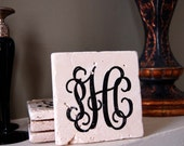 Stone Drink Coaster set of four Monogrammed Coasters