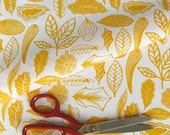 Leaves Fat Quarter in yellow on organic cotton