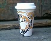 ceramic eco friendly travel mug - Black Gold - made to order