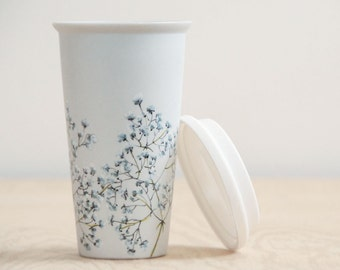 Eco-Friendly Ceramic Travel Mug - Babys Breath Collection