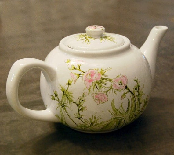 Large round teapot - Spring Blooms and Buds