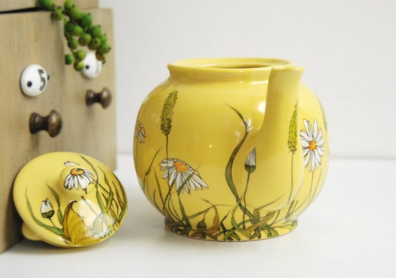 Ready to Ship - Yellow Teapot  - Grass Fields and Daisies