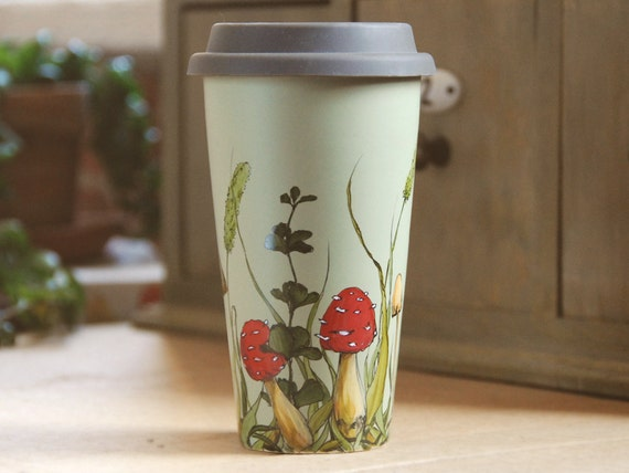 ready to ship - 12 oz Green Ceramic Travel Mug  - Shrooms and Grass Collection