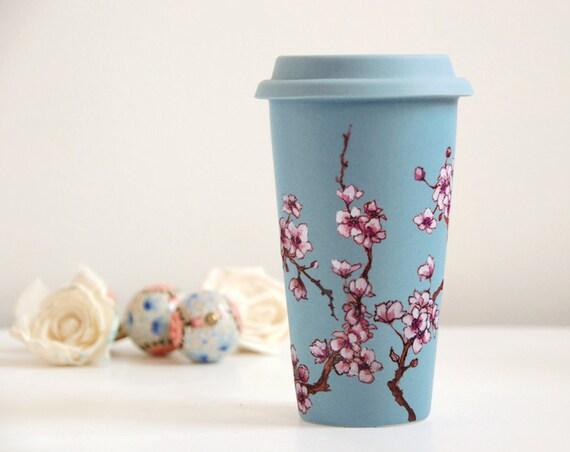 12 Oz Baby Blue Ceramic Travel Mug Cherry Blossoms