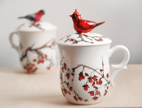 Hand Painted Tea Cup - Love Birds, Red Cardinal